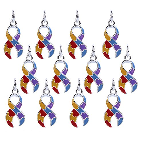 Bingcute 12Pcs Silver Plated Dangling Autism Awareness Ribbon Bead Charm with Ring