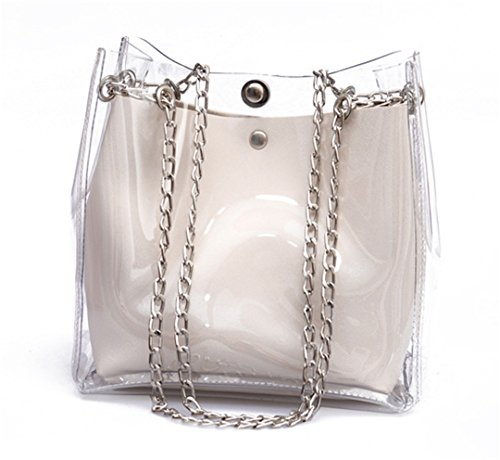 Backpack Daypack Purses Transparent White Satchel PVC Clear Women for Holographic q4x6vP7w