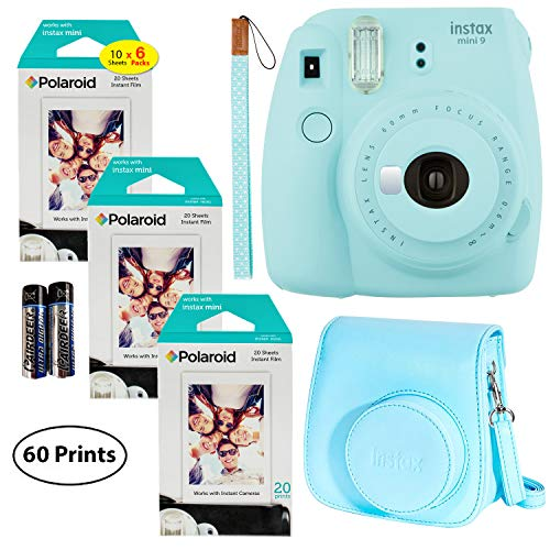 Fujifilm Instax Mini 9 Instant Camera (Ice Blue), 3X Twin Pack Instant Film (60 Sheets) and Fuji Groovy Case (Ice Blue) Bundle from Fujifilm