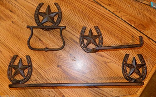 3pc Western Texas Star Iron Bathroom Set Towel Bar, Tissue Paper, & Towel Holder Texas Irons Star