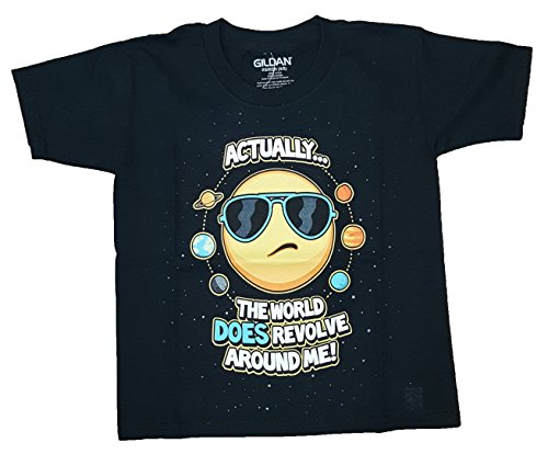 Boys Actually The World Does Revolve Around Me Black Graphic T Shirt   Small