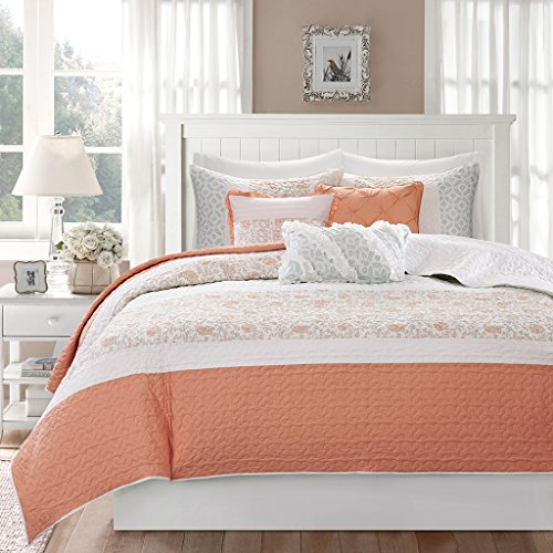 Madison Park MP13-2799 Dawn 6 Piece Cotton Percale Quilted Coverlet Set, Coral