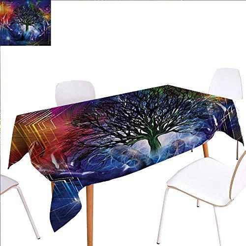 familytaste Nature Washable Tablecloth Human Hand Grabs a Leafless Tree Vitality Symbol Modern Hippie Karma Artisan Theme Waterproof Tablecloths 50