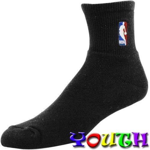 NBA Logoman Black Quarter Socks Youth Size Kids Socks (Approx. 4-8 years old) - 2 Pack by For Bare Feet