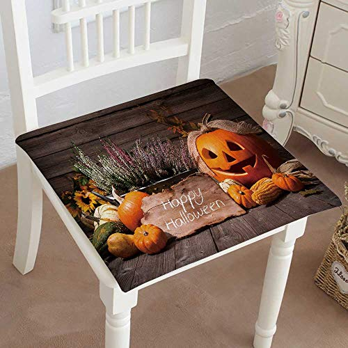 Mikihome Outdoor Chair Cushion Halloween Still Life with Pumpkins and Halloween Holiday Text Comfortable, Indoor, Dining Living Room, Kitchen, Office, Den, Washable 26