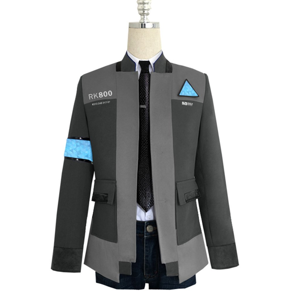 COSFLY Game Become Human Connor Jacket Cosplay Costume Men Coat Uniform Suit X-Large, Grey 2 ((Coat + Shirt+Tie) by COSFLY