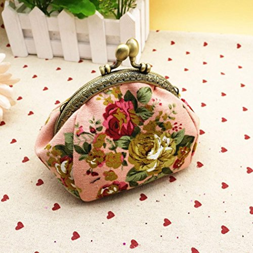 Purse Small Flower Retro Kimanli Wallet Clutch Girls Hasp Vintage Pink Women Bag Lady White 80AUqfqwP