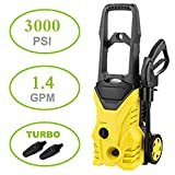 Electric Pressure Washer, 2030 PSI 1.40 GPM Pressure Washer, 1600W Electric Pressure Washer Rolling Wheels High Pressure Professional Washer Cleaner Machine+ (2) Nozzle Adapter