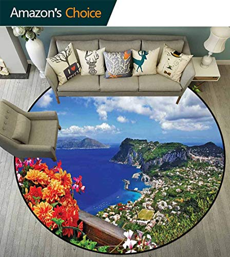 - Island Round Rug entryway,Scenic Capri Island Carpet for Children Home Decorate,Italy Mountain Houses Flowers View from Balcony Landmark,Blue Green OrangeD-47