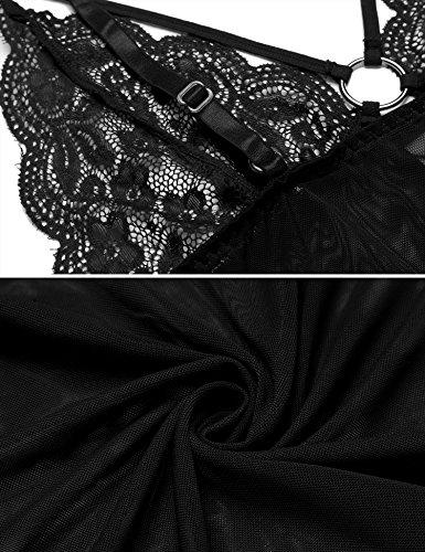 Transparent string Nuisette Femme Nuit Avec De Lingerie Noir En Dentelle Badydoll Chemise Bretelle Tulle G Et Aimado APq8w8