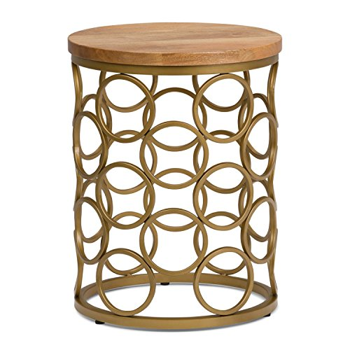 (Simpli Home AXCMTBL-18 Sadie  Round 17 inch wide Metal and Wood Accent Accent Side Table in Natural, Gold)