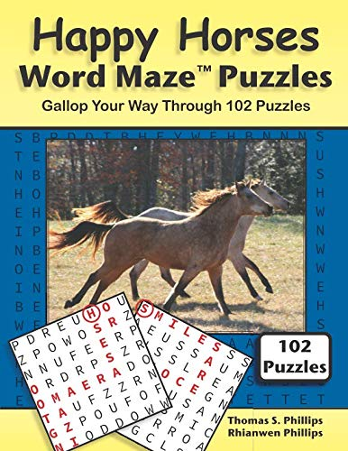 Happy Horses Word Maze Puzzles: Gallop Your Way Through 102 Puzzles (Animal Word Maze Puzzle Book)