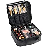 VASKER Makeup Case Travel Cosmetic Bag Leather Organizer Bag with Adjustable Divider Storage Case for Girl and Women