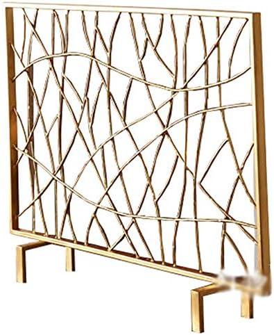 LJFPB 暖炉スクリーン シングルパネル スパークメッシュカバー ベビーセーフティファイアガードスクリーン、 暖炉/ストーブ用 ゴールド 101x78.5x20cm (Color : Gold)