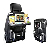 2017 NEW Backseat Car Organizer for Baby Stroller & Kid Travel Accessories, iPad /Tablet Holder, Wet Wipes Tissue Compartment Stretchy Storage Pockets. Kick Mat Seat Back Protector (Black)