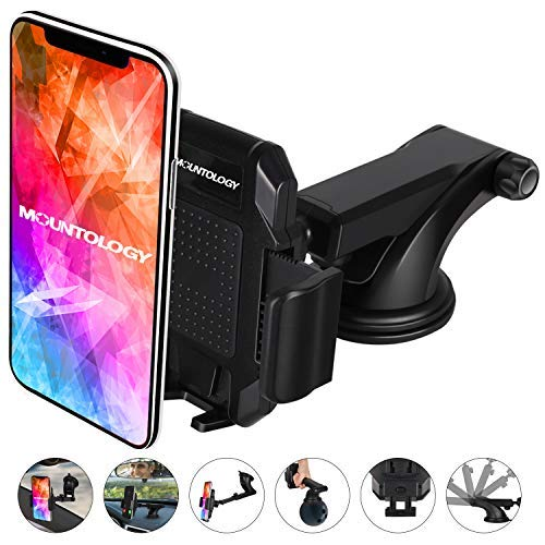 Dashboard Cell Phone Holder, Car Phone Mount Strong Suction Cup Phone Holder Extensible & Adjustable Windshield Phone Mount for 3.5'' - 7'' Device iPhone X/8/8Plus/7/7Plus/6s/6Plus/5S Galaxy S9/S8/S7…