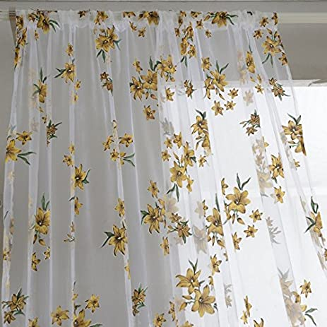 1x2M Sweet New Sheer Tap Top Curtain Window Living Room Drapes Floral Curtains Panel Only