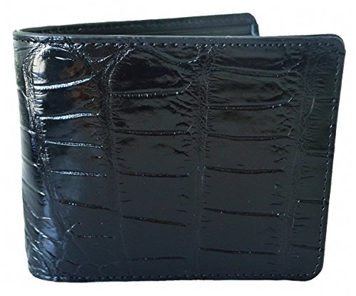 Authentic M Crocodile Skin Men's Bifold Belly Leather Wallet (Black)