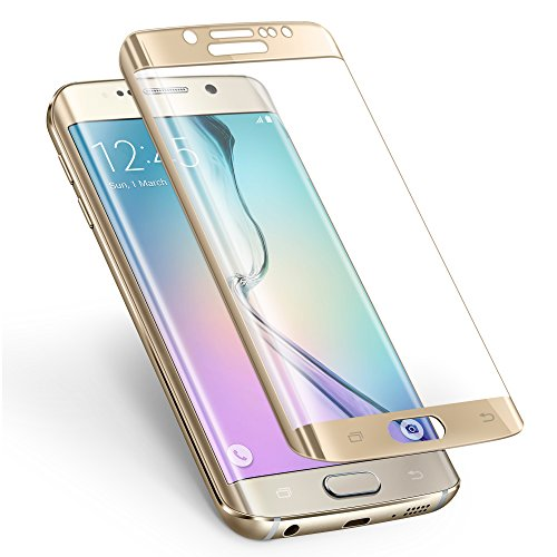 S6 Edge Screen Protector,ALCLAP Galaxy S6 Edge Tempered Glass Full Coverage Premium Military Protective Shield 3D Curved Anti-Bubble HD Ultra Clear Film for Samsung Galaxy S6 Edge(Gold)