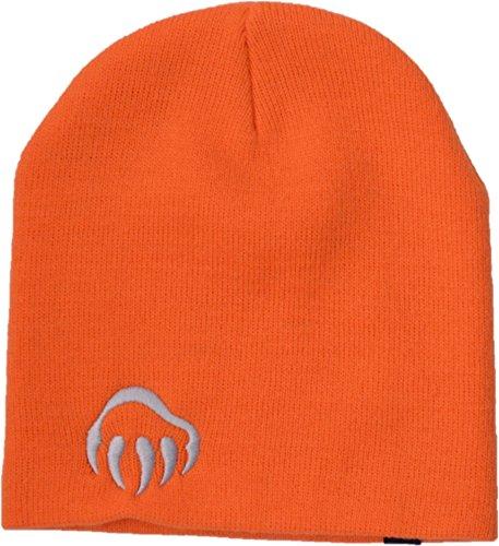Wolverine Acrylic Knit Beanie Hat with Paw Embroidery & Logo Tab (Orange Logo Beanie)
