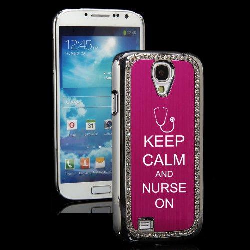 Hot Pink Samsung Galaxy S4 S IV i9500 Rhinestone Crystal Bling Hard Back Case Cover KS364 Keep Calm and Nurse On Stethoscope