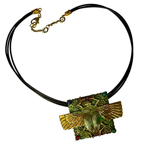 Patina Brass Egyptian Motif Large Scarab Pendant - Carnelian, Malachite, Navy Onyx, Turquoise