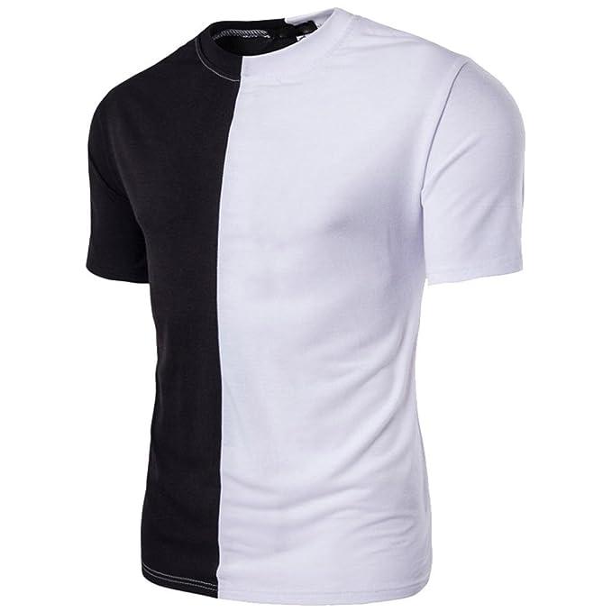 Camiseta De Retazos Y Color Hombre LHWY, Camiseta Ajustadas De Cuello Redondo Manga Corto Casuales