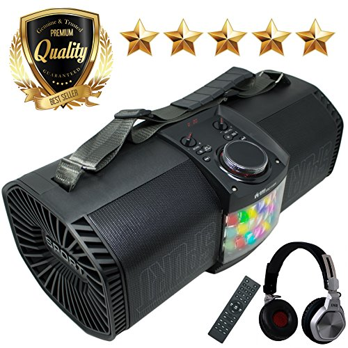 EMB Rechargeable Portable Boombox Street Disco Stereo Speaker 300 Watts - FM / MP3 / Remote/Light / Headphone - Work with Bluetooth