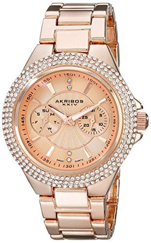 Akribos XXIV Women's AK789RG Multifunction Swiss Quartz Movement Watch with Rose Gold Dial and Bracelet
