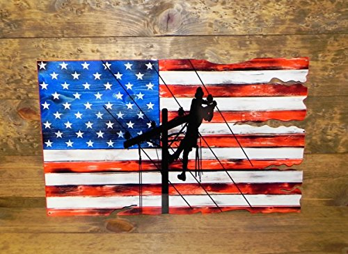 PhotoSTEEL LINEMAN USA FLAG 24X15