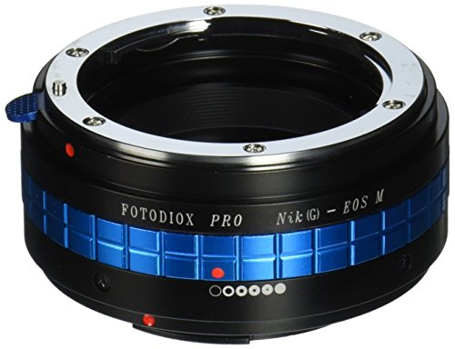 Fotodiox Pro Lens Mount Adapter - Nikon F Mount G-Type D/SLR Lens to Canon EOS M (EF-M Mount) Mirrorless Camera Body with Built-In Aperture Control Dial