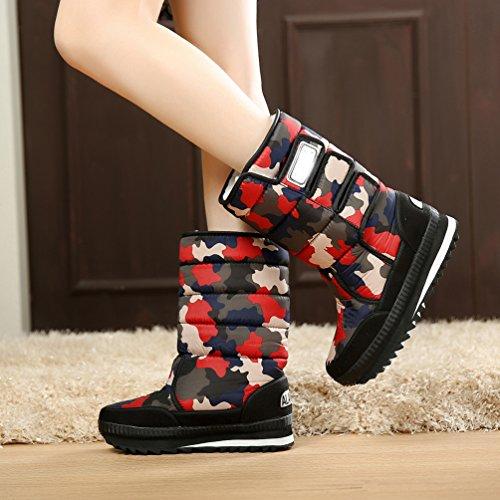 LvRao botas para nieve impermeables casual calzado para invierno corta de zapatos deportivos trekking botas ski para mujer Rojo