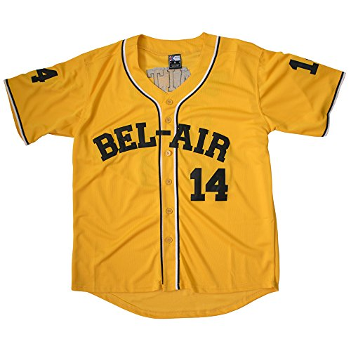 MOLPE Smith #14 Bel Air Baseball Jersey S-XXXL Yellow (L) ()