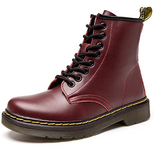 (Resonda Women Fashion Leather Ankle Bootie Casual lace up Short Combat Boots for Girls,Red,US)