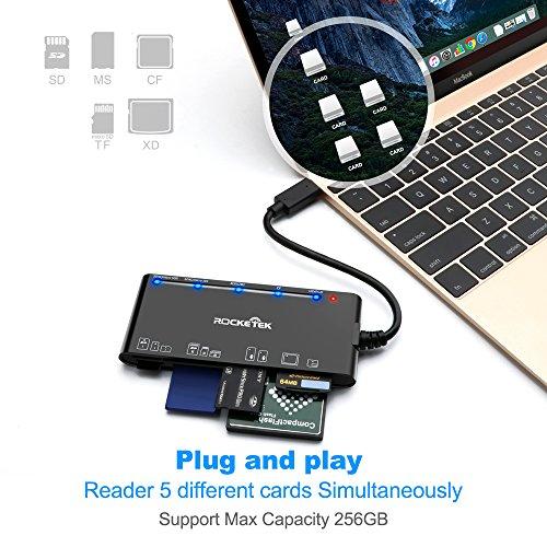 Rocketek Type C XD Card Reader, USB C 3.0 Memory Card Reader/Writer for CF Card, xD Card, SD Card, Micro SD Card, MS Card & MS micro Card | Build in 13cm Cable | Read 5 Different Cards Simultaneously by Rocketek (Image #5)