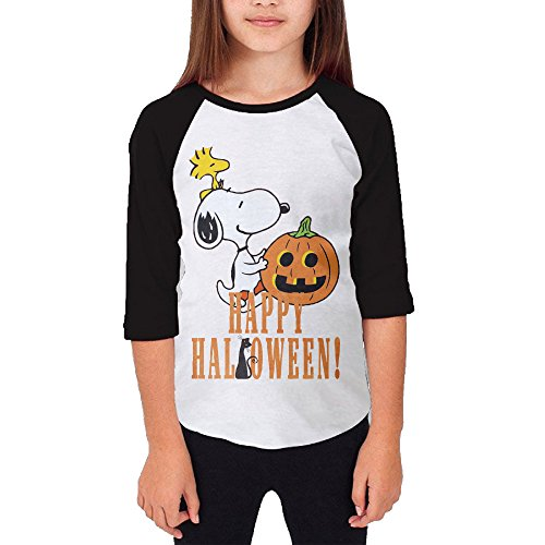 Autumn Youth Funny Snoopy Happy Halloween Quote Cartoons Crew Neck 3/4 Sleeves Raglan T Shirts Black US Size XL]()