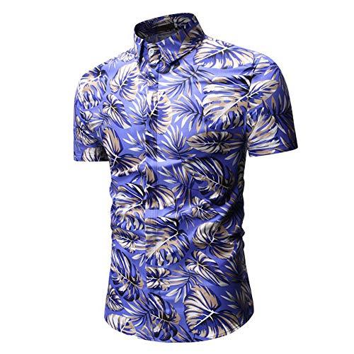 1 Hommes Variées Bleu Allthemen amp;courtes Longues Manches Chemise Feuilles T Couleurs Shirt Imprimer pwqR7w