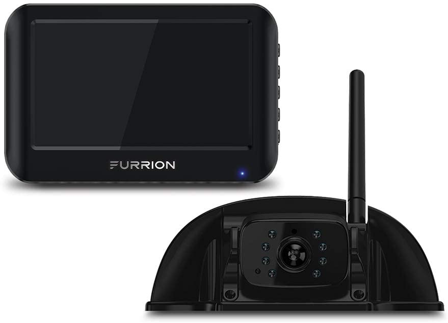 Furrion Vision S 4.3 Inch Wireless RV Backup System with 1 Rear Sharkfin Camera, Infrared Night Vision and Wide Viewing Angle