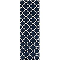 Safavieh Chatham Collection CHT717C Handmade Dark Blue and Ivory Premium Wool Runner (23 x 7)