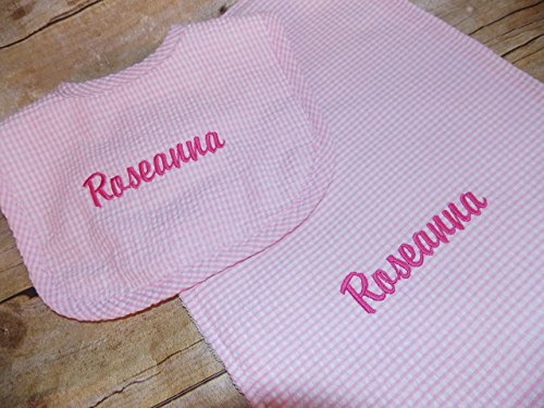 Embroider gingham pink yellow or blue personalized baby bib and burp gift set (Baby Bib Initial)
