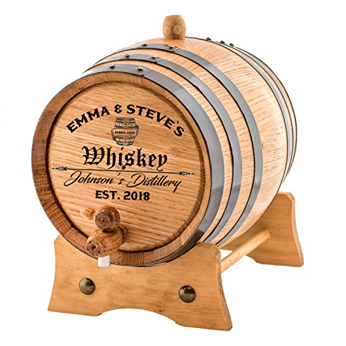 Personalized - Custom Engraved American Premium Oak Aging Barrel - Age your own Whiskey, Beer, Wine, Bourbon, Tequila, Rum, Hot Sauce & More | Barrel Aged (3 Liters) ()