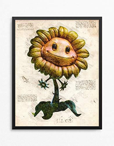 Plants vs Zombies Print, Plants vs Zombies Poster, Sunflower Poster, Sunflower Print, PVZ Game Poster, N.005 (16 x 20 inch)