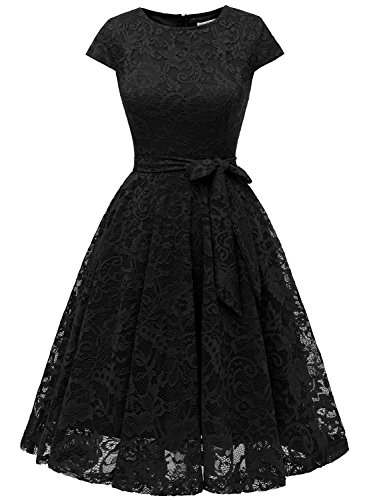MUADRESS 6008 Short Bridesmaid Dresses with Cap-Sleeve Chic Lace Formal Dresses L - Dress Black Chic