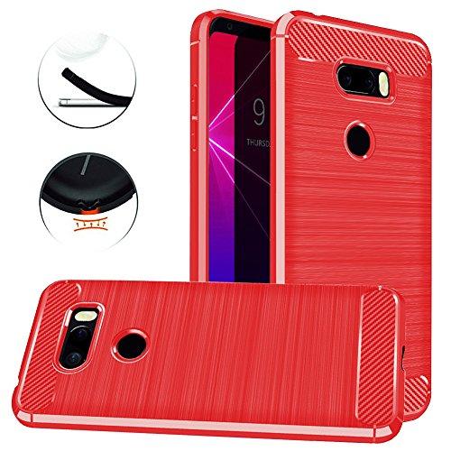 LG V35 ThinQ Case, LG V30S ThinQ Case, Dretal Carbon Fiber Shock Resistant Brushed Texture Soft TPU Phone case Anti-Fingerprint Flexible Full-Body Protective Cover for LG V35 ThinQ / V30S (Red)