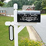 Set of 2 Decorative Mailbox Decal Vinyl Mailbox Sticker Custom Address Mailbox Decal (7''h x 14''w PLUS FREE WELCOME DOOR DECAL)