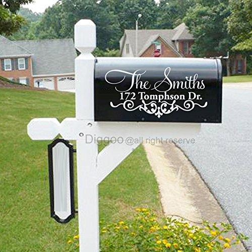 Set of 2 Decorative Mailbox Decal Vinyl Mailbox Sticker Custom Address Mailbox Decal (7