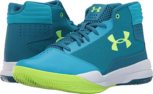 Under Armour Kids Girls Ua Ggs Jet 2017 Basketball  Big Kid  Blue Shift Bayou Blue Quirky Lime 5 Big Kid M