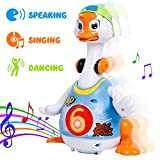 SGILE Electric Interactive Hip-Hop Swing Goose Toy with Flexible Walking/Movement/Light Music Style