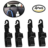MinZStore Car Seat Headrest Hooks Strong Durable Backseat Headrest Hanger Storage for Handbags, Purses, Coats, and Grocery Bags Universal Vehicle Car SUV RV Seat Back Headrest Bottle Holder Pack of 4