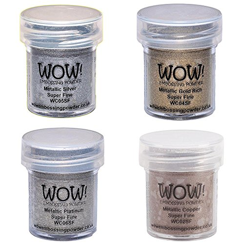 Wow! Embossing Powder Super Fine Metallic Bundle: Gold, Silver, Platinum and Copper, 15ml